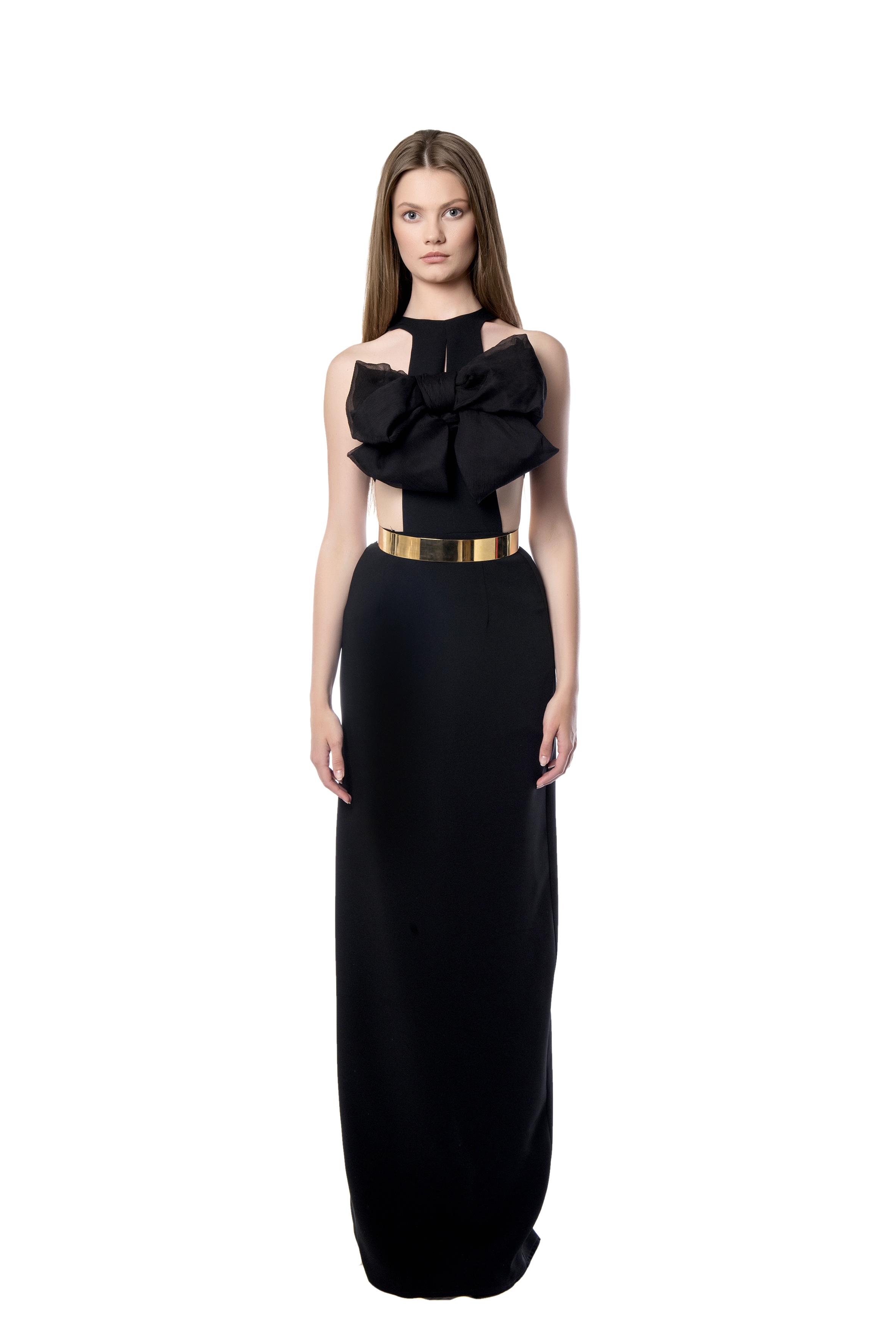 855c0d10e41c clothing   Μακρύ μαύρο φόρεμα με λεπτομέρεια φιόγκο. + · Προηγούμενο Προϊόν